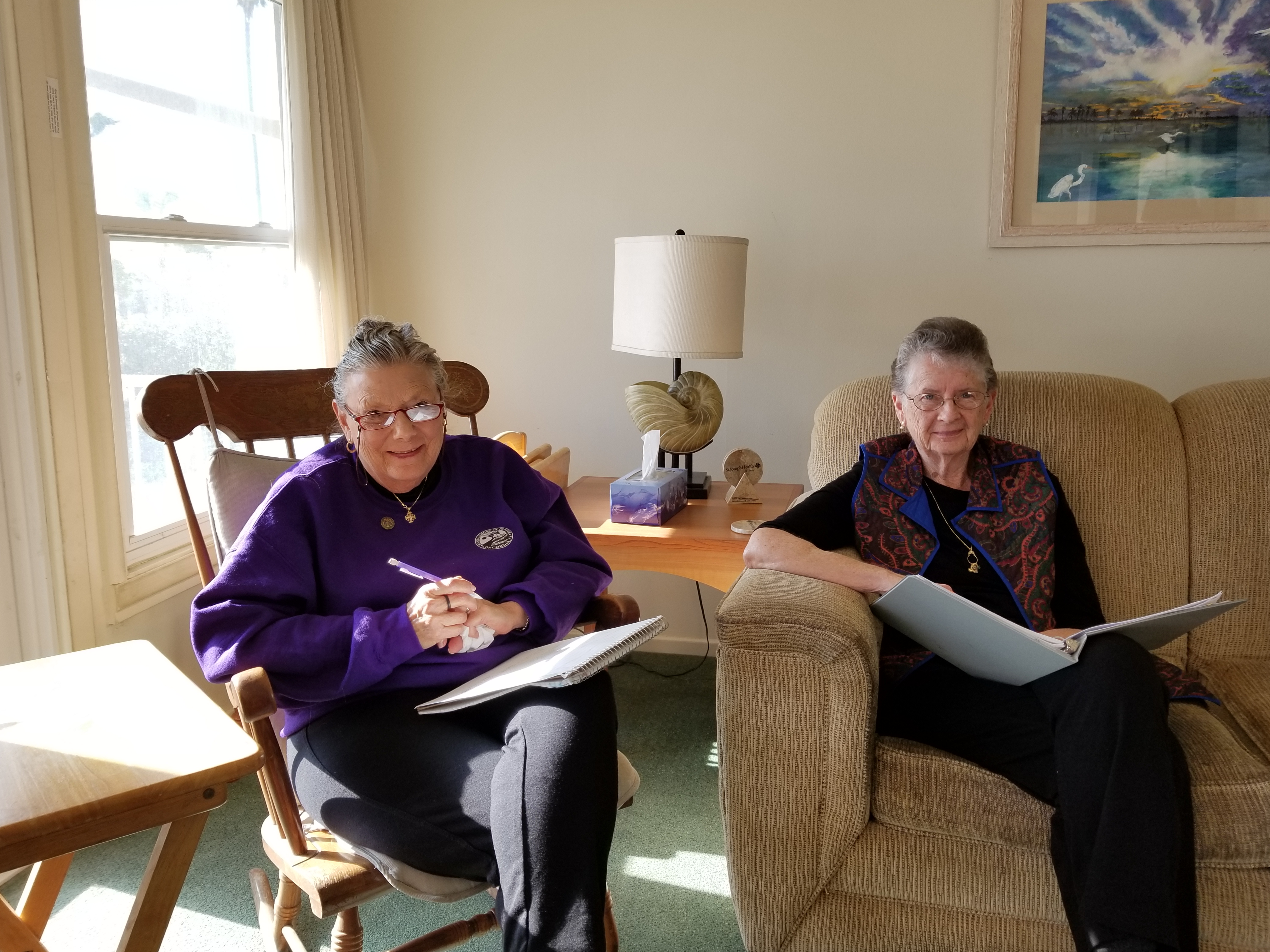 Agregee Sister Ann Ashwood Concordia left and Rochester SSJ Mary Louise Heffernan right