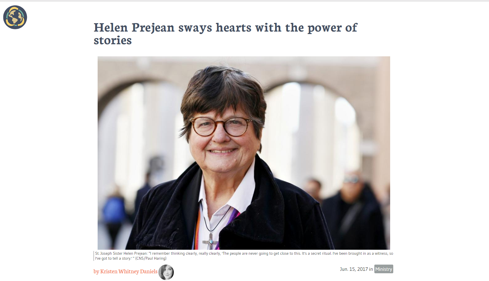 """Helen Prejean sways hearts with the power of stories"" by Kristen Whitney Daniels"