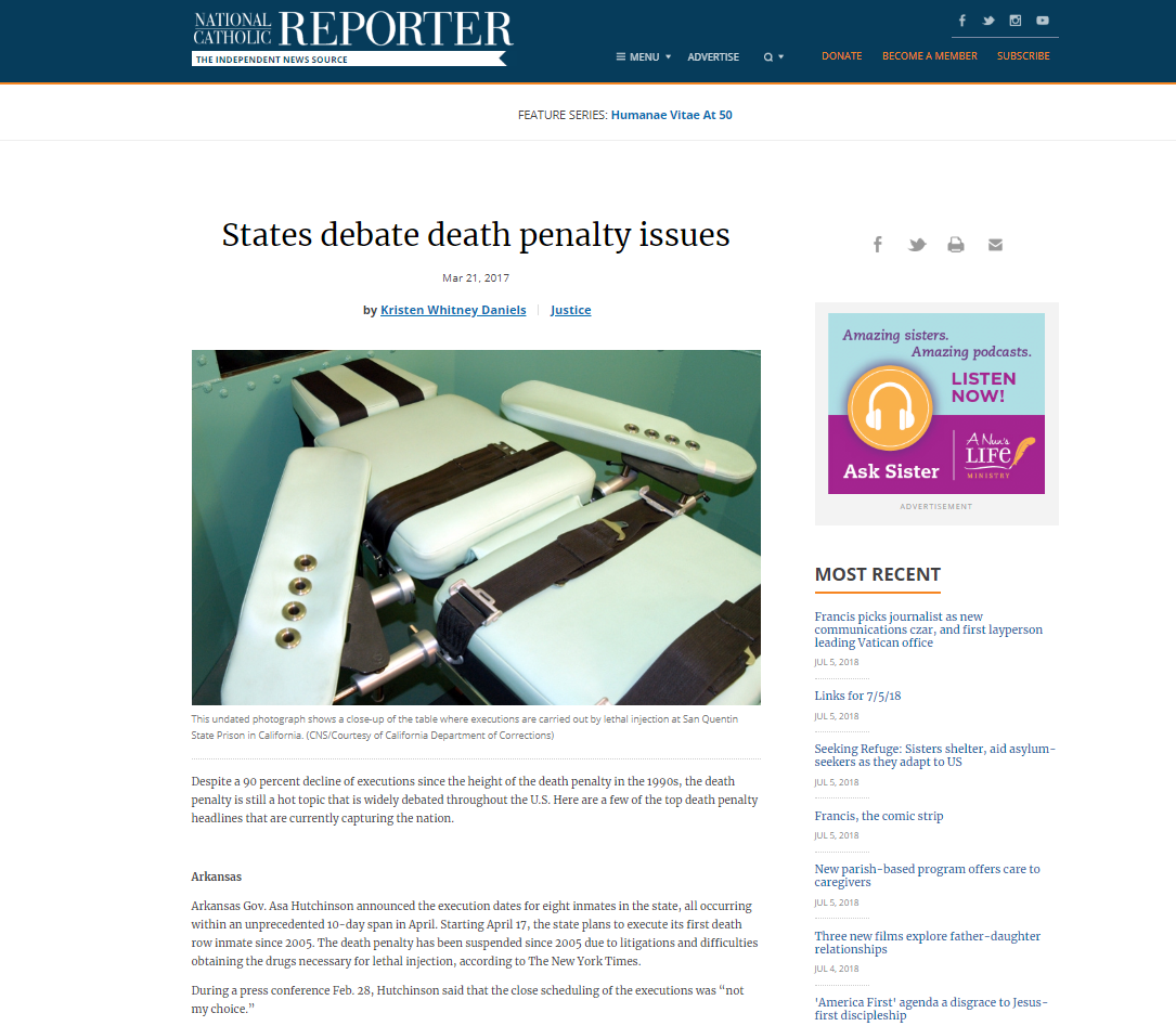 """States debate death penalty issues"" by Kristen Whitney Daniels"