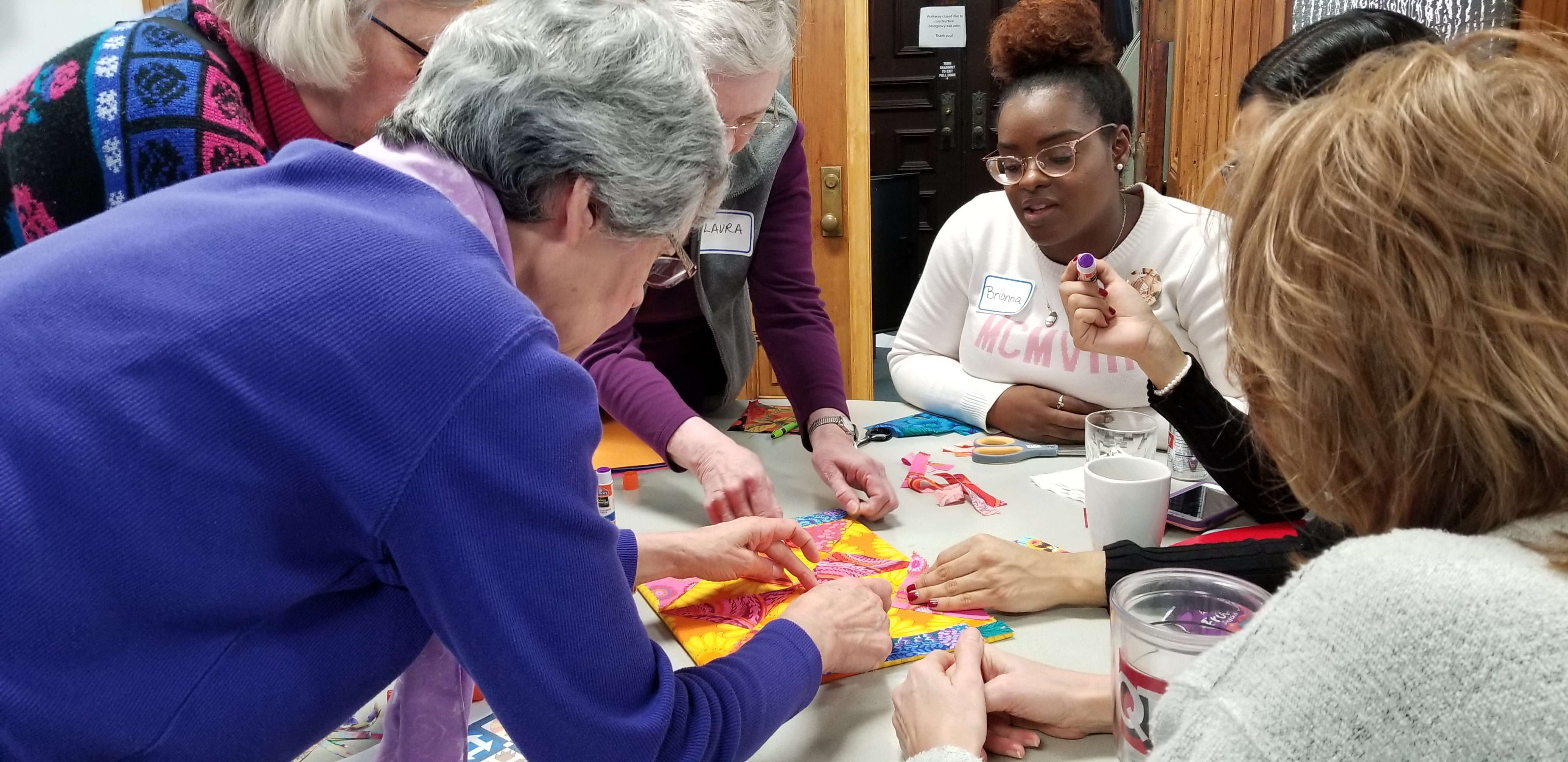 Participants made their own quilt squares at the workshop.