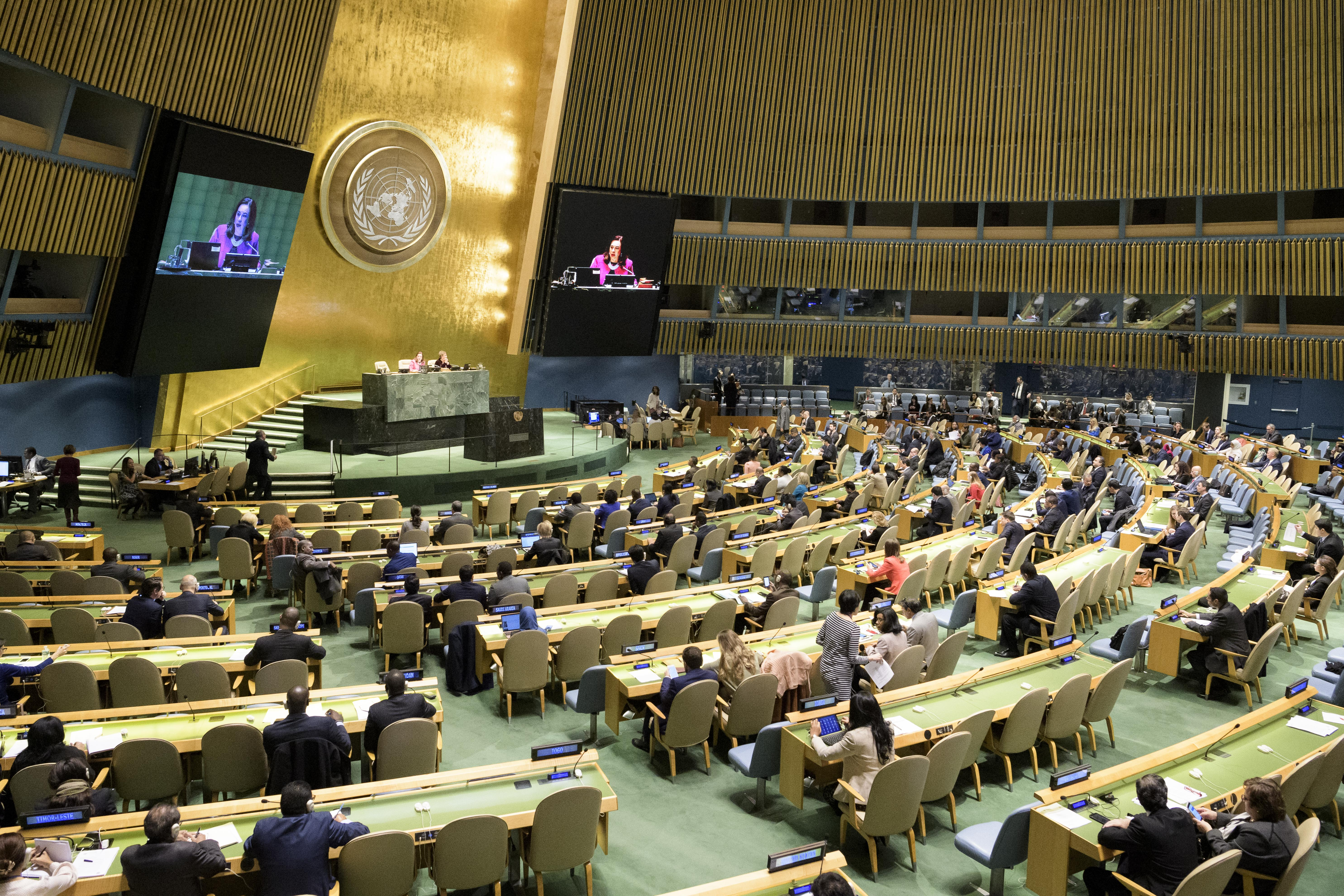 A photo of the U.N. General Assembly in New York