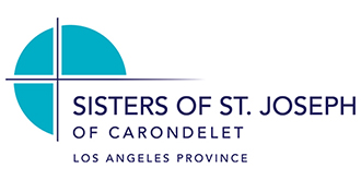 Sisters of St. Joseph of Carondelet Los Angeles Logo with the title in purple. Also a purple cross with the three sections of the cross filled in in teal
