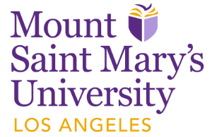 Mount St. Mary's University in purple writing and Los Angeles in Gold