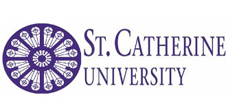 St. Catherine University logo in purple with a circular stain glass window